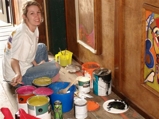 Shelley Shanks painting in her studio